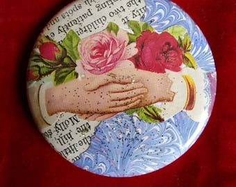 Booklover's Purse Pocket Mirror with a Velvet Pouch