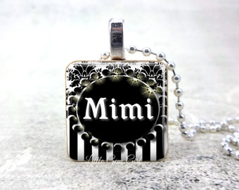 Mimi Necklace Pendant - Black and White Mimi Wood Pendant Charm for Mother's Day or Wedding Mimi of the Bride Jewelry