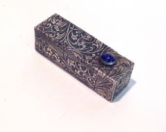 Antique Silver Italian lipstick case with Lapis cabochon