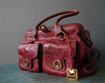 90s Hide Design Oxblood Red Burgandy Doctors Bag Genunie  Leather