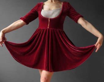 80s Rust Red Stretch Velvet Dirndl Skater Dress Small