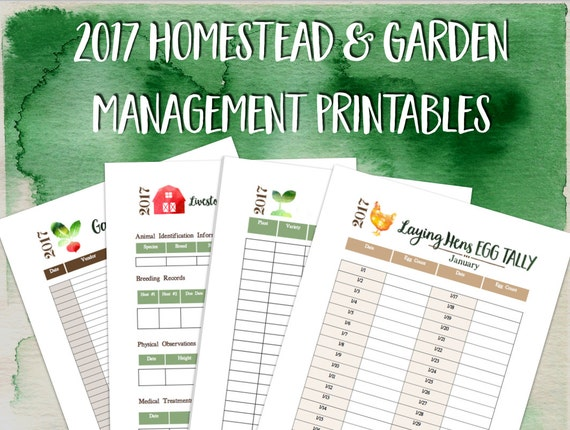 2017 Printable Homestead and Garden Management Planner