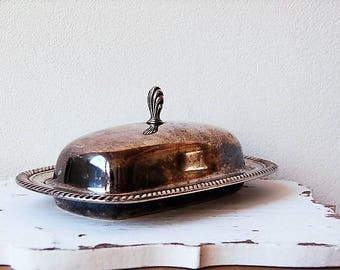 Silver Plate  Butter Dish William Rogers