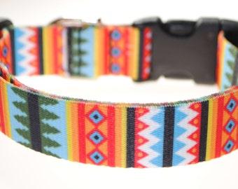 """Aztec Pines - 1"""" Wide Adjustable Dog Collar"""