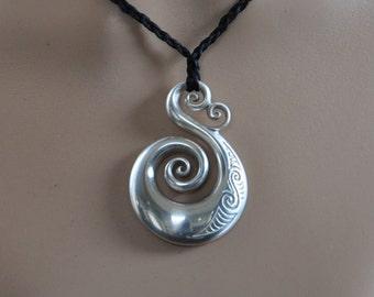 Sterling Silver koru-Solid 925 tribal Pendant on black plaited cord~New Zealand Maori koru love ethnic design