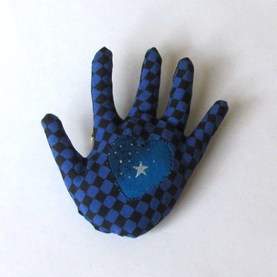 Heart in Hand Brooch ~ Reverse Applique Hamsa ~ Ready to Ship