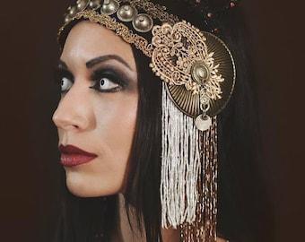 Tribal Fusion Beaded Cabaret, Flapper, Burlesuqe Headpiece