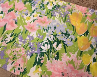 1970s vintage pair of pillowcases spring bright funky floral soft