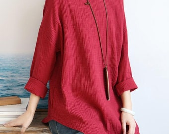 Spring cotton asymmetric bottoming shirt large size T-shirt women blouse