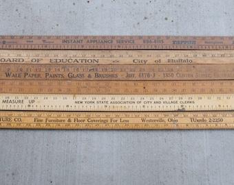 Vintage Advertising Wooden Yardsticks Assorted Mix of 6 Natural
