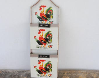 Vintage Kitchen Wall Organizer Letters Misc Rooster Themed