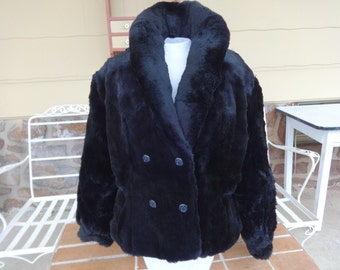 vintage women's faux fur coat 1960-70's MOD black Mademoiselle large retro winter