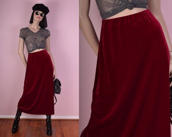 90s Red Velvet Maxi Skirt/ Medium/ 1990s