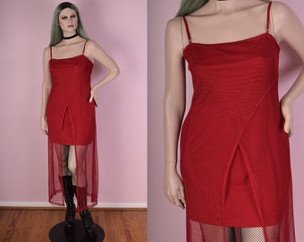 90s Red Mesh Maxi Dress/ Large/ 1990s/ Tank/ Sleeveless