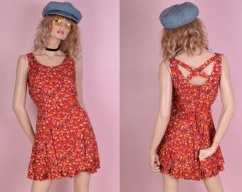 90s Floral Print Mini Dress/ US 9-10/ 1990s