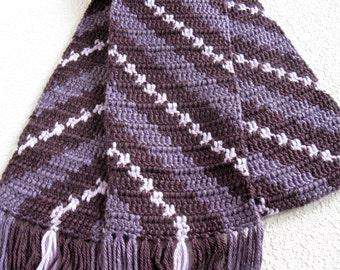 Purple Stripes Scarf.  Plum purple diagonal striped crochet scarf. Womens winter scarf.