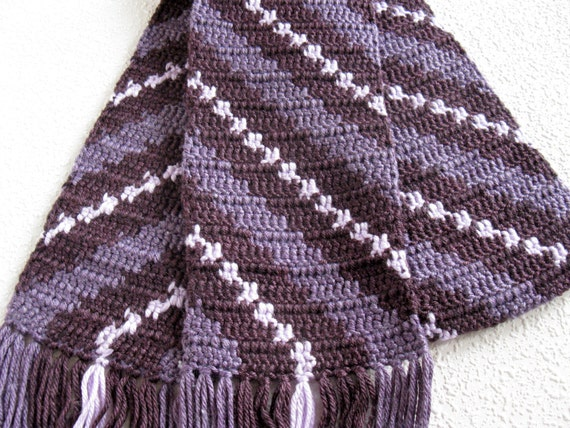 Purple Stripes Scarf.  Plum purple diagonal striped crochet scarf. Womens winter scarf.