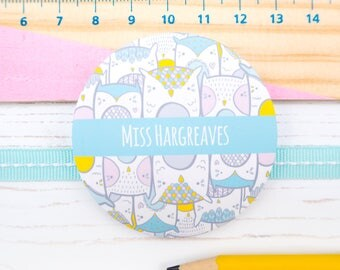 Owl Teacher Mirror - Thank you teacher - Teacher gift - Personalised teacher gift - End of term gift - Owl pocket mirror
