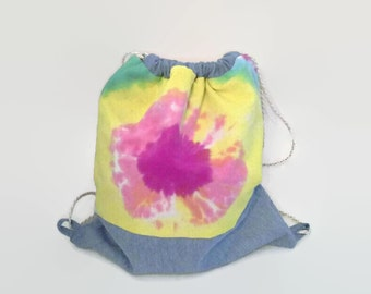 Pink and Yellow Tie Dye Drawstring Backpack Upcycled, Colorful Cinch Sack, Hipster Back Pack