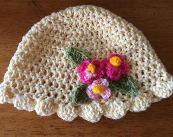 Baby Girl's Crocheted Spring Hat