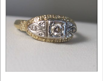 Antique Art Deco 14k Columbia 3 Diamond Filigree Engagement Ring