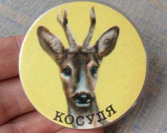 "Vintage Soviet Russian plastic badge,pin.""DOE""."