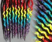Resurved Tie dye rainbow inspired harlequin brown  synthetic dread accent set 10 de / 20 se dreadlocks