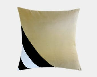 "Decorative Pillow, Home Decor, Striped Gold Silk Throw pillow case, Black-White cotton accent, fits 18"" x 18"" insert."