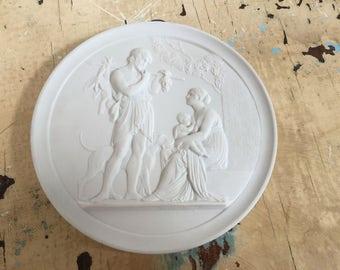 Vintage Royal Copenhagen wall plaque, white bisque porcelain