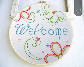Embroidery Pattern PDF  Welcome Flower Spirals Spring Design