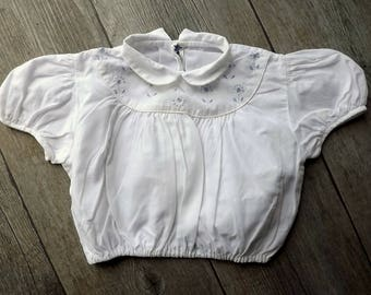 Vintage French baby's top, cotton, with blue detailing