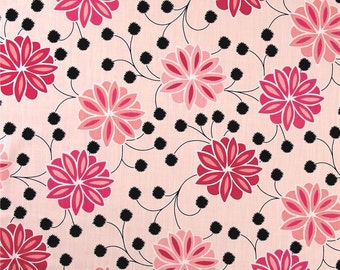 "Two  96"" x 50""  Custom Curtain Panels - Rod Pocket Panels -  Floral Pink Black"