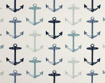 Two Custom LINED Curtain Panels with Grommets -  Indoor/Outdoor - Anchors - Teal Blue/Seafoam Green/Navy