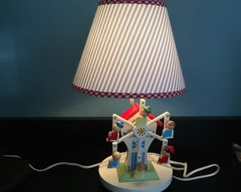 Ferris Wheel Nursery Lamp 1978 mechanical windup w music box by Nursery Originals baby lamp real Ferris Wheel Turns Lullaby Music Box