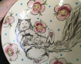 """Santa Fe pottery """"White Cat Floral"""" OOAK 1990 Loza Fina 8"""" bowl happy kitty rolling in flowers"""