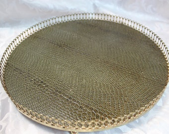 Vintage Round Display Tray with ormolu brass banding - Green Leather Look