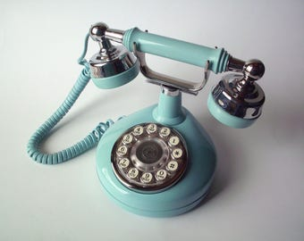 Vintage Ornate Blue Western Electric Touchtone Phone with Modular Jacks