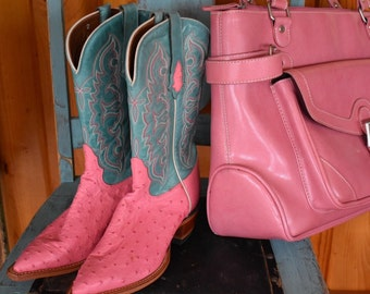 Tony Lama Pink and Turquoise Ostrich Ladies Cowboy Boots