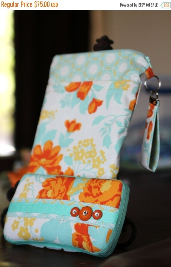 CLEARANCE Wet Bag & Wipes Case - Mini Diaper Bag (Girl) - Orange, Yellow, Aqua, and Cream Floral
