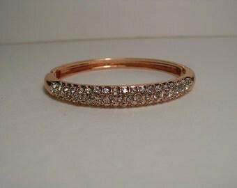Rose Gold Pave Crystal Hinged Bangle Bracelet