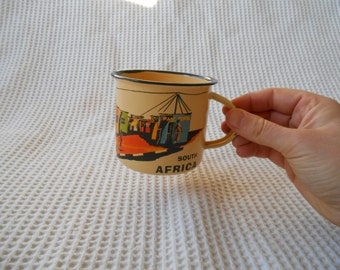 CapeTown South Africa Enamel Shabby Chic Tin Cup Cityscape Cream and Black Cottage Chic
