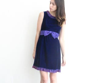 vintage ruffle purple velvet bow sash mini dress