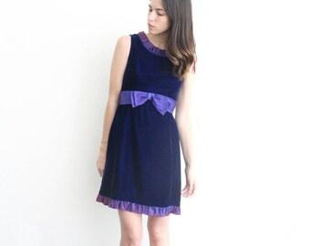 vintage ruffle purple velvet bow sash mini dress