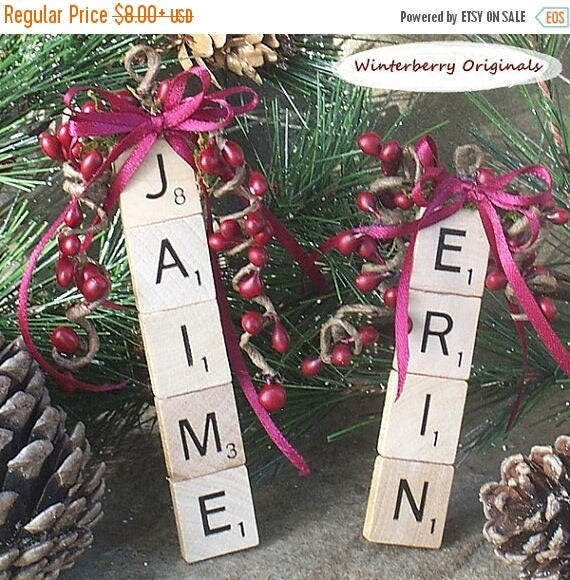 ON SALE Personalized Ornament, Personalized Scrabble Ornament , Package Tie-On , Stocking Stuffer, Co-Worker Gift