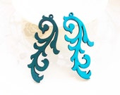Dyeing Series - 26x 62mm  Filigree Aqua Blue / Dark Blue Victoria Style Wood Dangle/ Wooden Charm/Pendant NM147