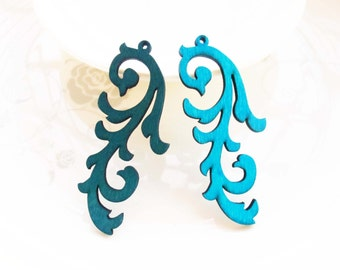 Dyeing Series - 6 PCS 26x 62mm  Filigree Variety of Colors Laser Cut Victoria Style Wood Dangle/ Wooden Charm/Pendant NM147