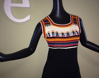 "Vintage 70s Hippie Sweater Dress Groovy Boho 1970s Novelty ""People"" Knit Space Dye Stripe A-Line Jumper Black Multi Stoner Dress Size Small"