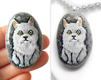 White Cat Necklace, Pet Portrait, Persian Cat Painting, Memorial Jewelry, Animal Lover Gift for Her, Pebble Pendant, Hand Painted Rock Art