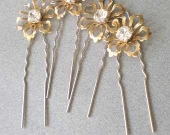 Whimsical BRIDAL Hair Pins. Rhinestone Floral Hair Jewelry. GIFT . Chic Prom. Bride Maids. Shower Gift. Flower Girl. Holiday Hair