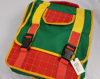 """Vtg Color block Backpack Primary Colors Book Bag Bulgaria Hangtag 15"""" x 12"""" x 2"""" Tall"""